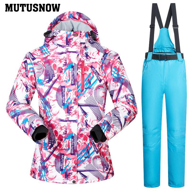 258dbf64ded Compre Traje De Esquí Para Mujer Conjunto A Prueba De Viento Calor  Impermeable Ropa Chaqueta Pantalones De Esquí Ropa De Nieve Esquí De  Invierno Y Snowboard ...