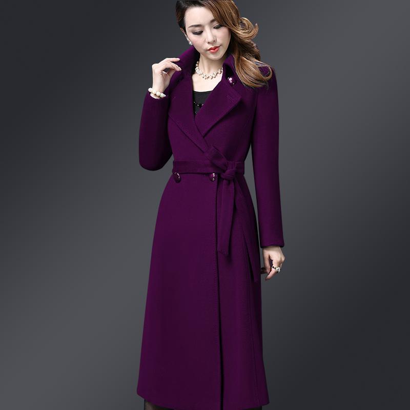 886cab681a23 Nuevas señoras elegantes abrigos largos de cachemira otoño invierno moda  dar vuelta abajo abajo abrigos de lana doble abrigo de lana de las mujeres