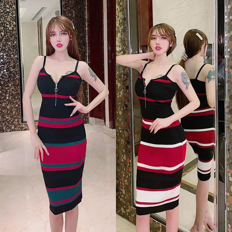 Fashion Summer New Women Sexy Color Collision Stripe Slimming Zipper Mid-length Skirt Sling High Waist Bottom Dress QC0221