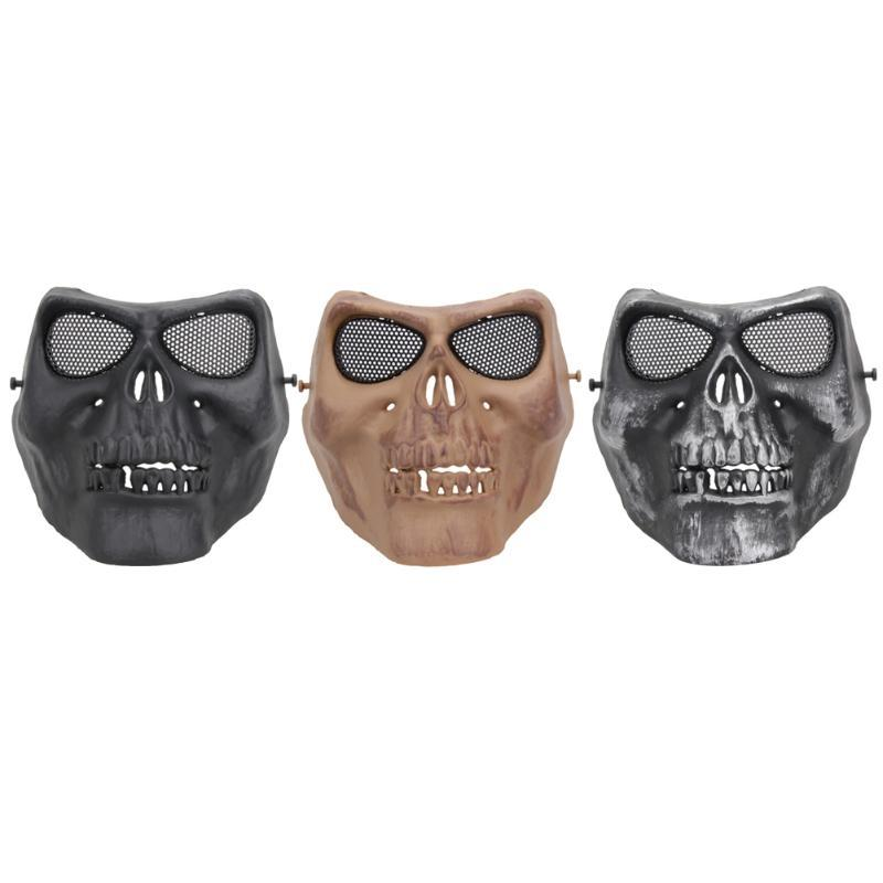 TPR Cycling Face Mask Creepy Horror Skull Half Face Mask for CS Paintball Party Cosplay Props Toxins /Odor Free Protection