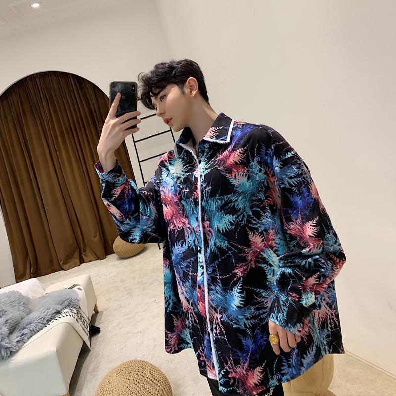 18cd0fad42d Compre Ropa Para Hombre Grande Y Alto Moda Para Hombre Coreano 2019 Camisas  Sueltas Casual Manga Larga Flores Camisas Estampadas Ropa De Dormir Estilo  A ...