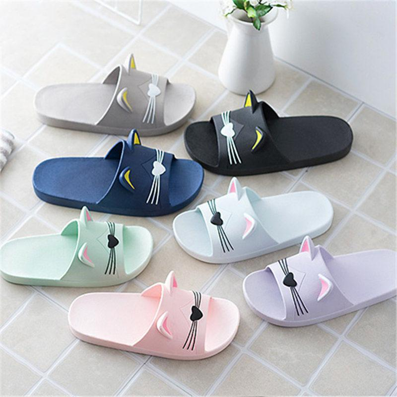 c49519627fd9 Summer Women Slippers Cute Cartoon Cat Indoor Bathroom Animal Slipper  Slides Flip Flops Soft Shoes Indoor Slippers Glass Slipper Blue Shoes From  Classycolor ...
