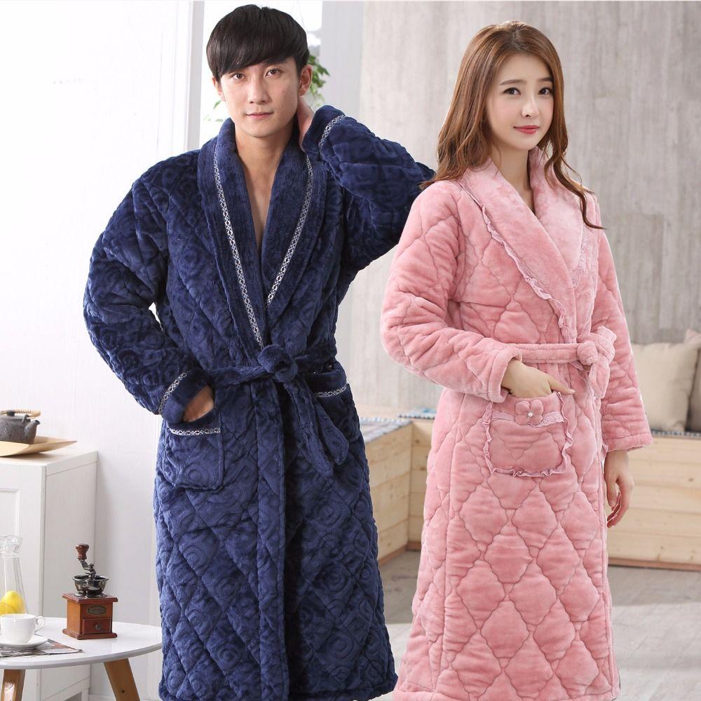 2019 New Winter Couple Thicken Long Flannel Coral Fleece Bathrobes Men Women  Homewear Warm Bath Robes Gown Bridesmaid Robes Female From Purlove 26a7d496a