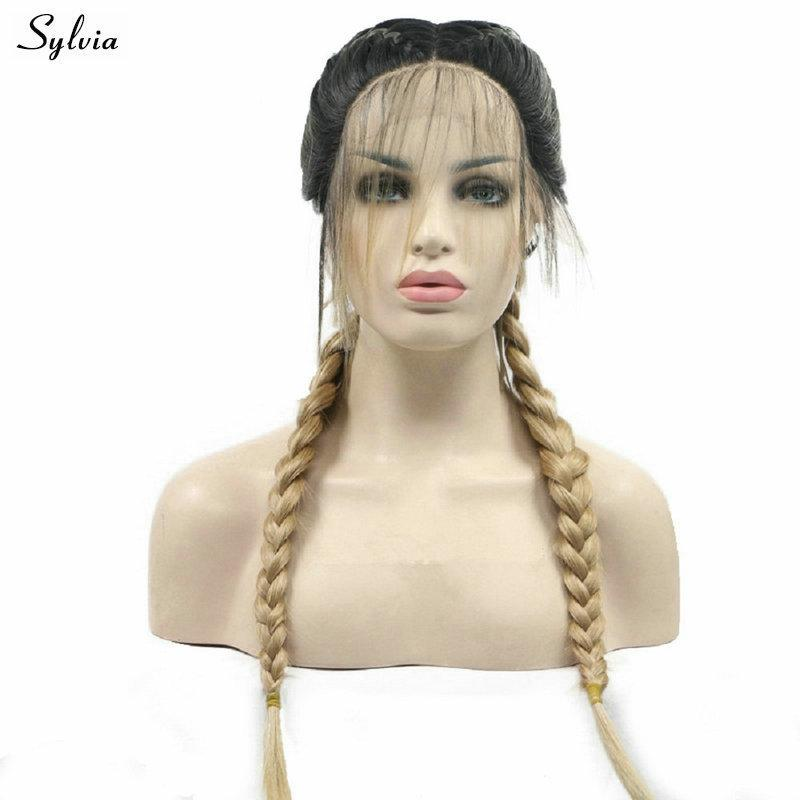 Sylvia Long Hair Water Wave Synthetic Lace Front Wigs Brown Ombre Blond Color Hair Natural Hairline For White Women Cosplay Hair Professional Design Hair Extensions & Wigs