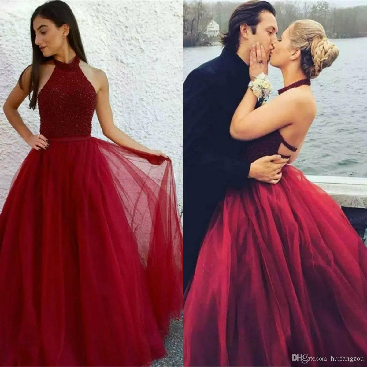 6477b5918a18 Latest Red Prom Dresses High Neck Major Beading Sequins Backless Long  Arabic Evening Formal Dresses 2018 Mermaid Prom Dress Custom Made Long Lace  Dresses ...