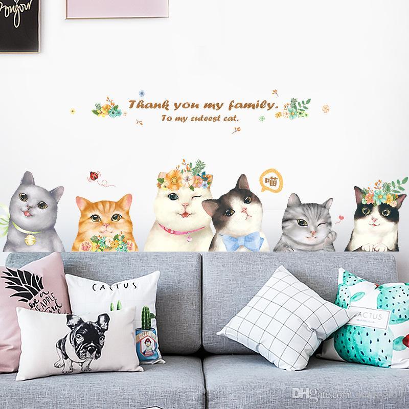 Acquista 2019 Nuovi Adesivi Murali Camere Bambini Lovely Cat Modello ...