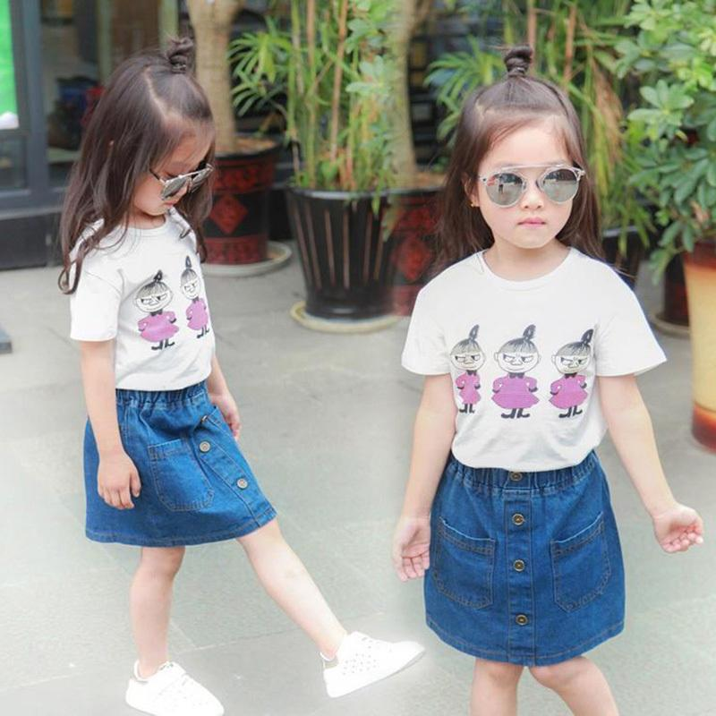 a89af08c0 2019 Summer Toddler Girls Clothing Sets White Cartoon Short T Shirt Denim  Skirts Cotton Kids Outfits Children Clothes 2 6 Years From Yosicil04, ...