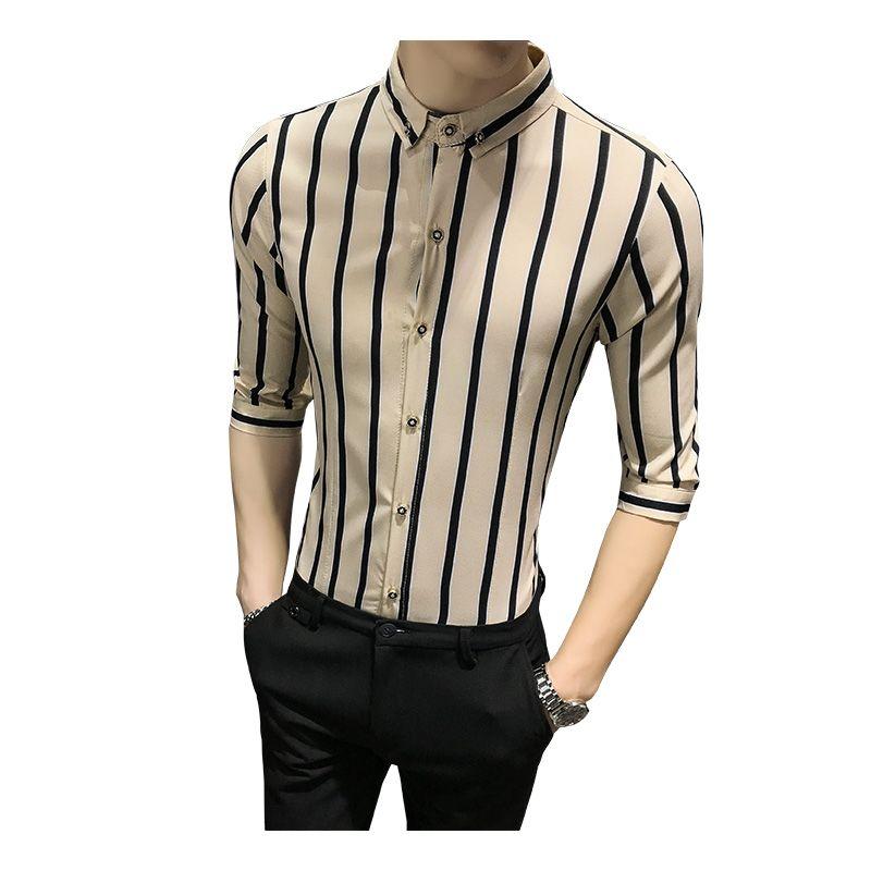 2e450147d new men's striped shirt multicolor vertical stripes half sleeve slim shirt  fashion business social casual men's petticoat