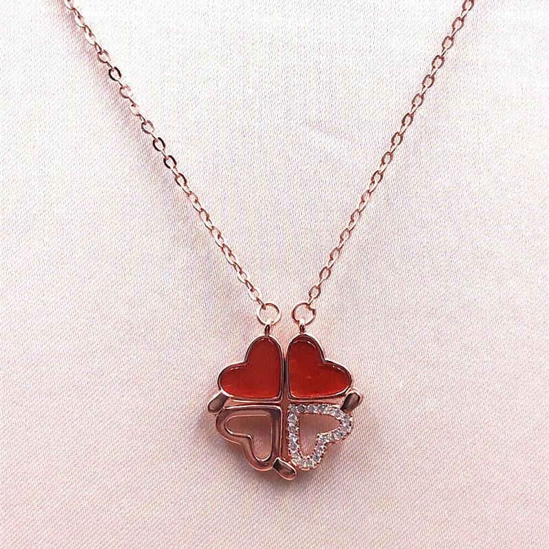 Clover Necklace Female S925 Silver Romantic Transformed Four-in-One Heart-Shaped Hanging Clavicle Chain