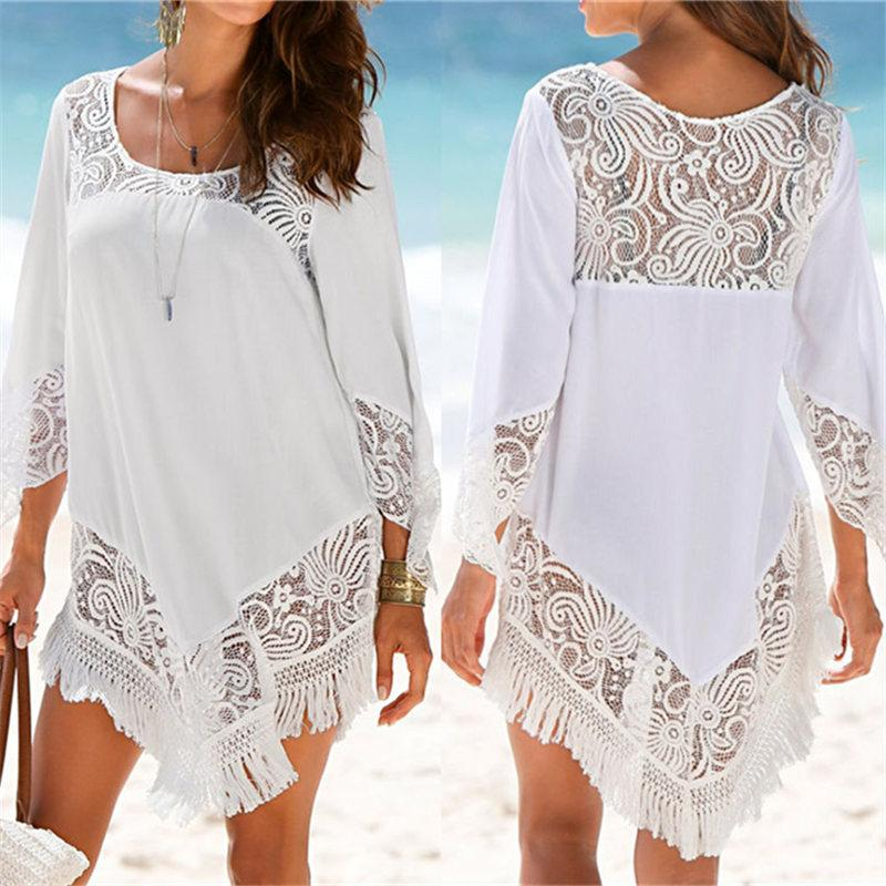 7989f04d7c9 2019 White Lace Cover Ups Swimwear 2019 Summer Sexy Bikini Pareo Beach  Cover Ups Beachwear Women Dress Bathing Suit Cover Up #Q425 Y19042401 From  Zhengrui05 ...