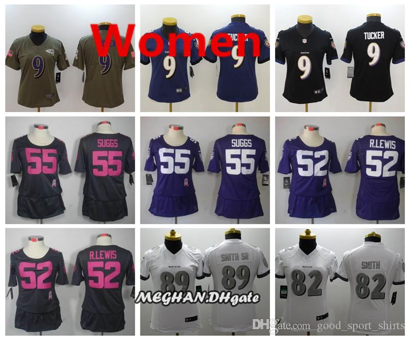 reputable site 53473 6c0ef Women Ravens American Football Jersey 9 Justin Tucker 55 Suggs 82 Torrey  Smith 5 Joe Flacco 18 Breshad Perriman Stitching Jerseys