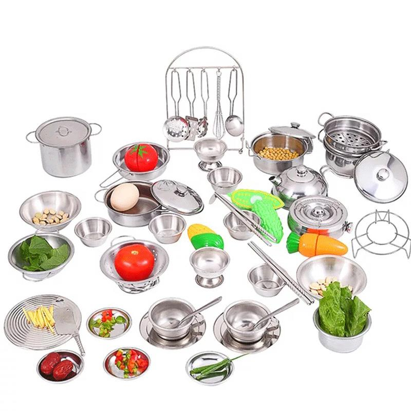 Mini Play 40pcs Stainless Steel Cooking Utensils Pots Pans Food Gift Mini Kitchen Cook Tools Simulation Play House Toys Gift Bag