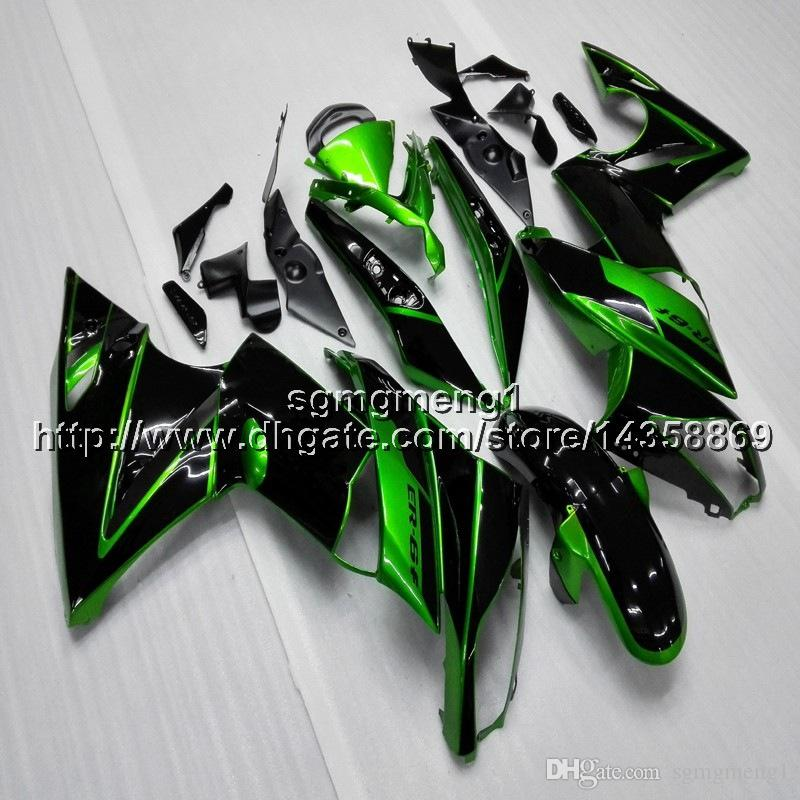 Screws+Gifts green black motorcycle cowl for Kawasaki ER6F 09 10 11 ER 6F 2009 2010 2011 motor cover ABS Plastic Fairing