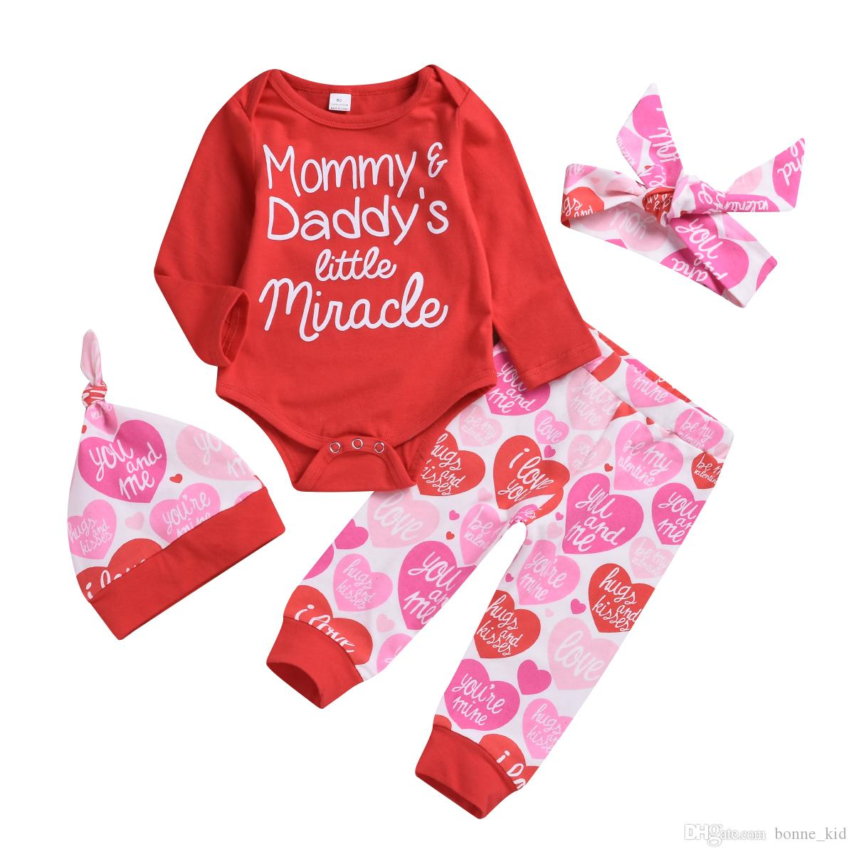 08655745507 2019 Valentine S Day Baby Girl Clothing Rompers+Pants+Hat+Headband Set  Mommy And Daddy S Little Miracle Baby Girl Outfits Clothes 0 24M From  Bonne kid