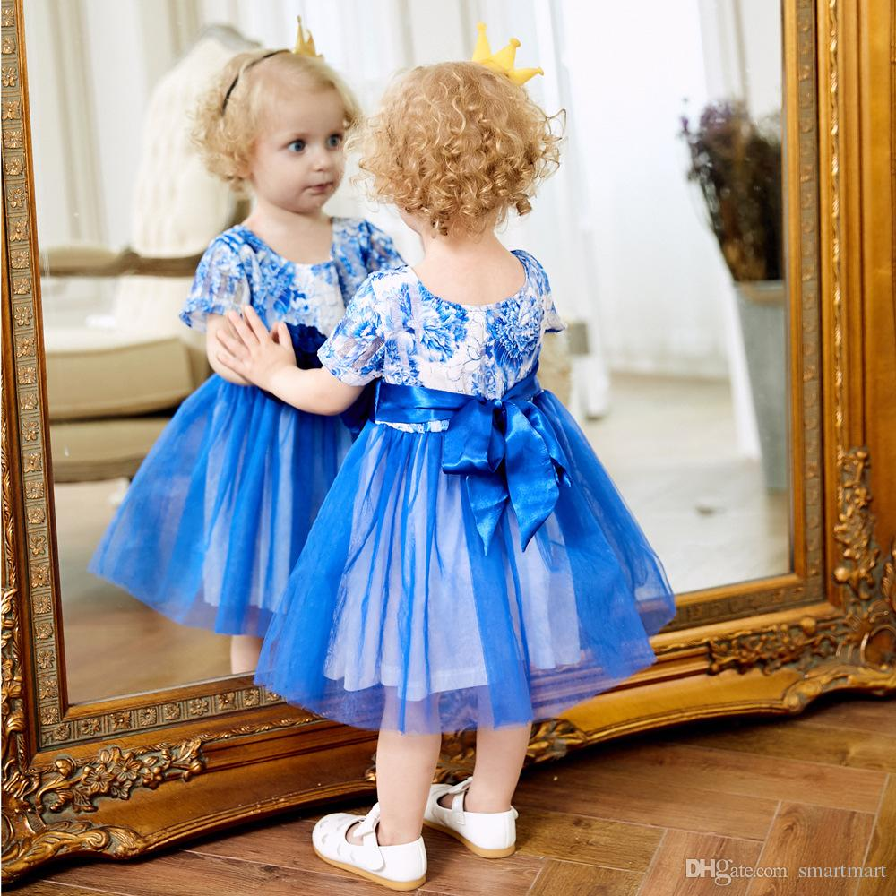 423a00cfa7 Cute Princess Baby Girls Tulle Floral Lace Party Dress Blue Color ...