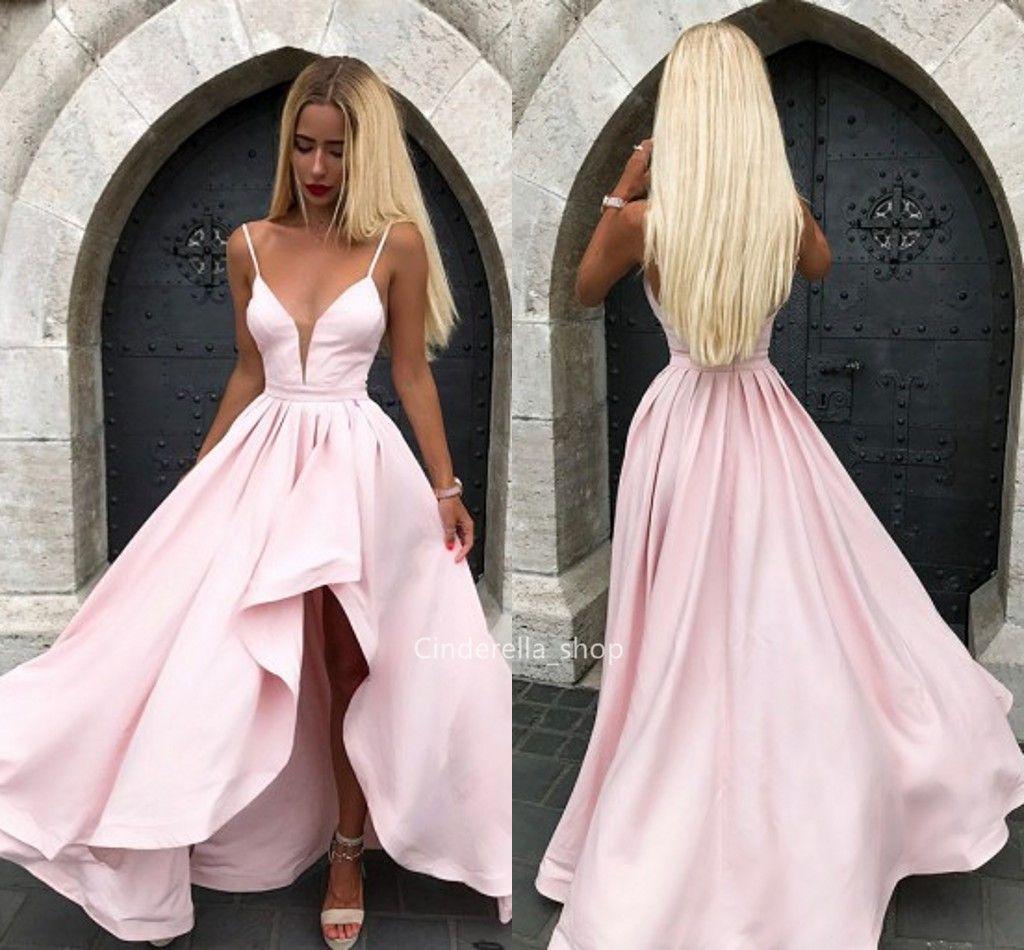 Simple Pink Hi-Lo Prom Dresses V-Neck Ruffles Sleeveless Formal Gowns Sweep  Train Plus Size Dresses Evening Wear 2019 Robes de fête