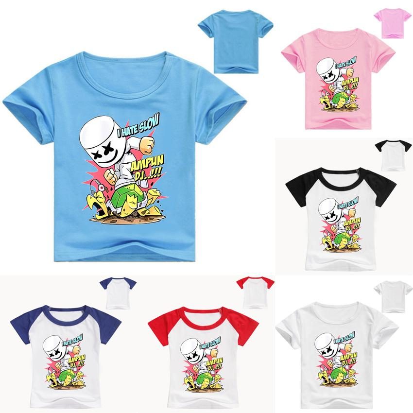 e83dc9d5eee08 Kids Marshmello T Shirts sweatshirts Marshmello DJ T-Shirt Girls Boys Short  Sleeve T-shirt Male Fans Costume Tees For Cosplay LE216