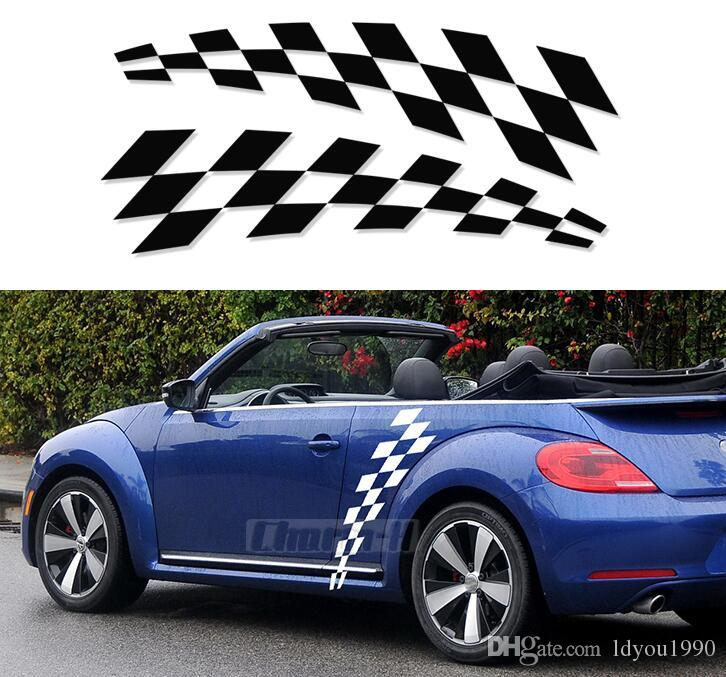 Checkered Flag Vw >> 2pcs Car Styling Door Side Body Vinyl Decal For Volkswagen Beetle 2011 Present Checkered Flag Checkerboard Stickers Accessories