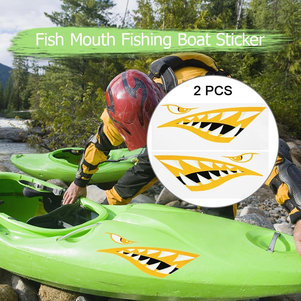 2017 New 2PCS Fish Mouth Sticker Fishing Boat Canoe DIY Cartoon Paste  Painting Sticker Car Truck Kayak Graphics Accessories