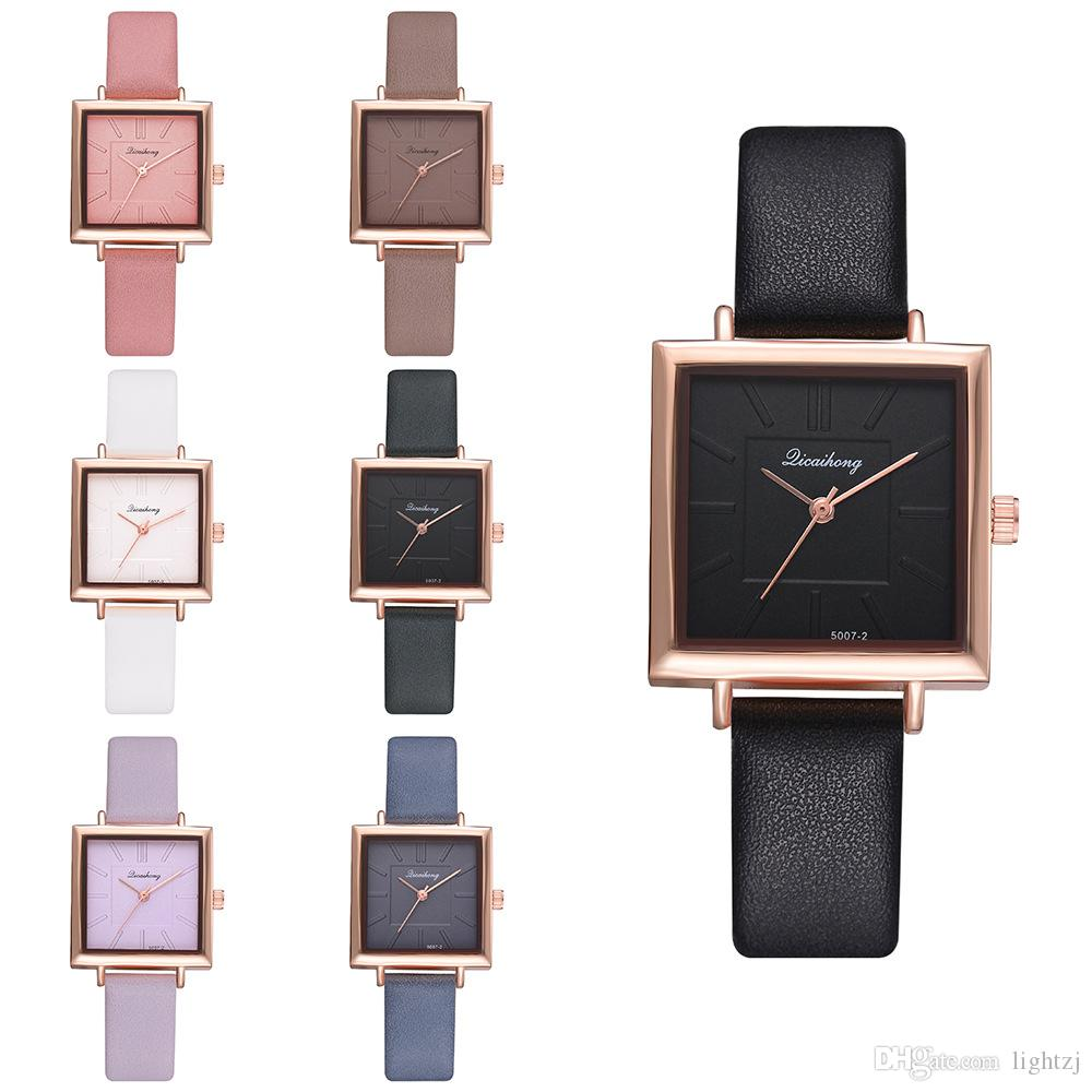 Top Brand Women Bracelet Square Watch Contracted Leather Crystal Wristwatches Women Dress Ladies Quartz Clock Present Gift