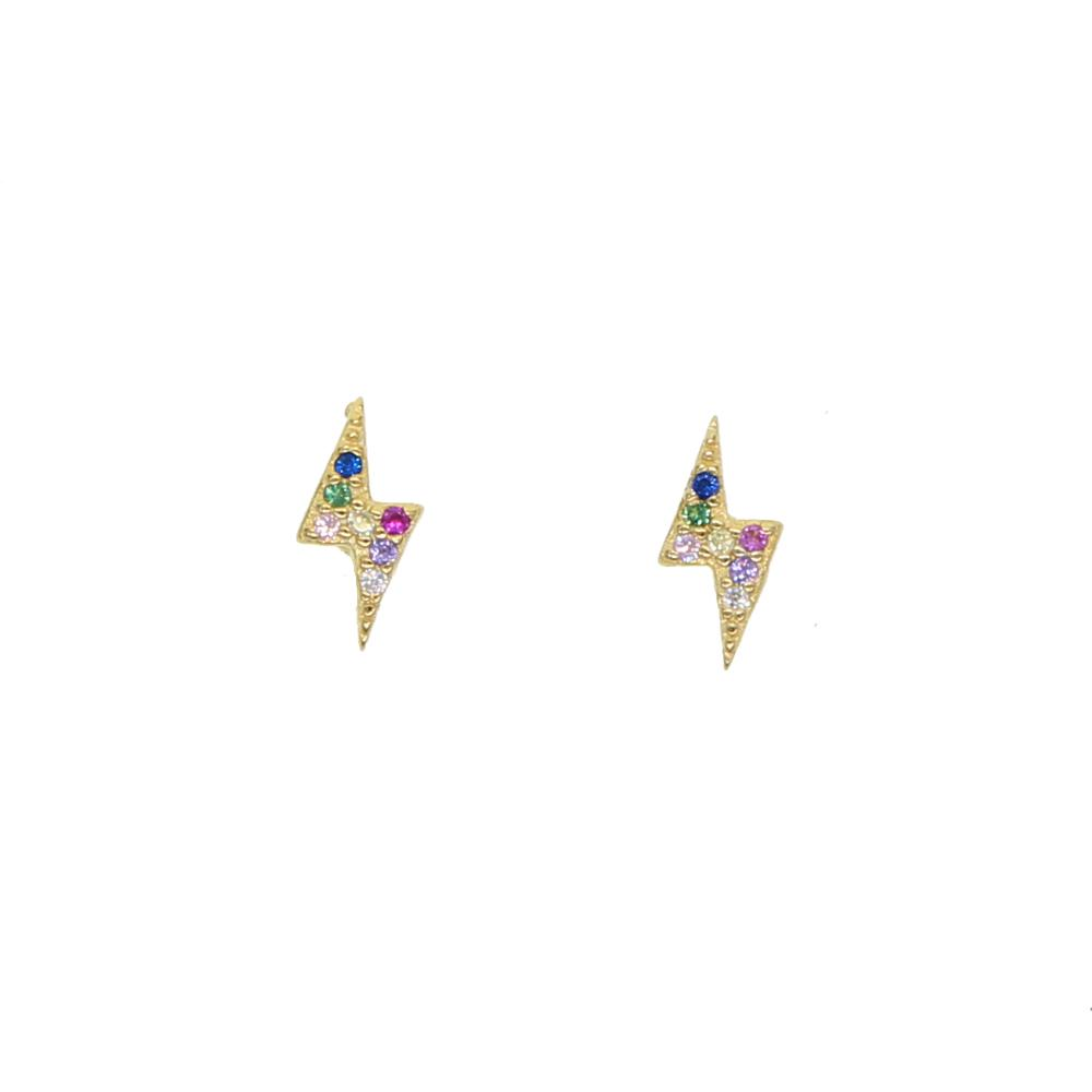 100% 925 sterling silver mini small second stud 2019 summer flash lightning studs paved colorful cz minimal earring