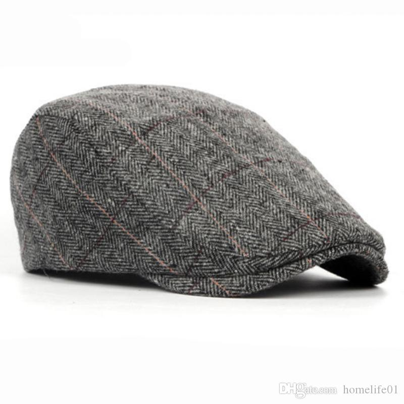 1163a9cdf Autumn Winter Men Cap Hats Berets British Western Style Wool Advanced Flat  Ivy Cap Classic Vintage Striped Beret Cap