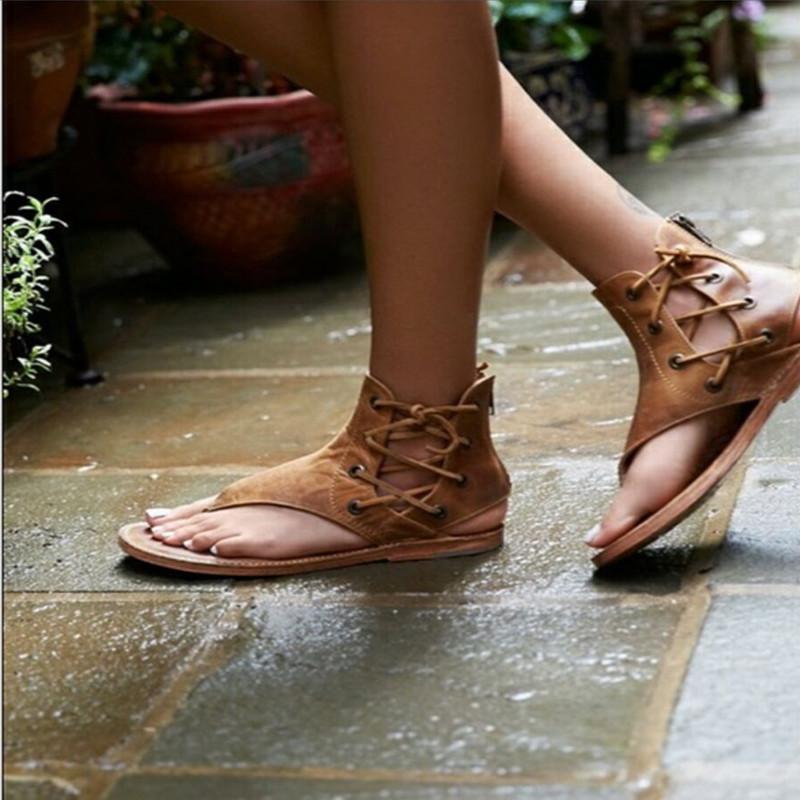 02e3b06eb XingDeng Women Summer Flat Bandage Lace Up Sandals Shoes Ladies European  Zipper Party Gladiator Pu Leather Plus Size 35 43 Pink Shoes Salt Water  Sandals ...