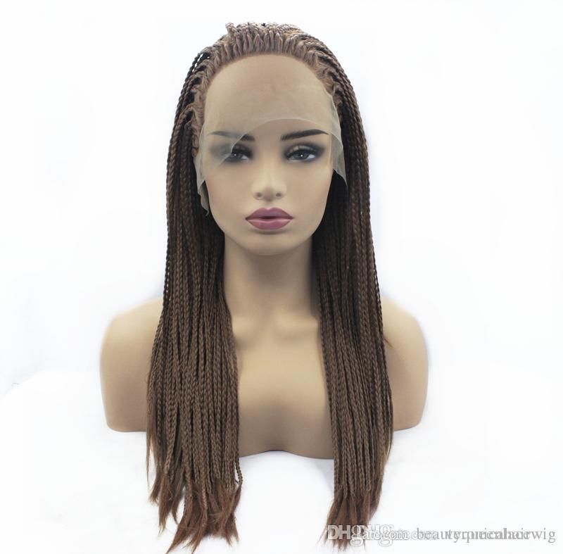 cfb3e1fc57b Wholesale Cheap Black Brown Color Synthetic Braided Lace Front Wigs For  Women Heat Resistant Fiber Hair Box Braids Wigs Premium Braid Wig Swiss Lace  Wig ...