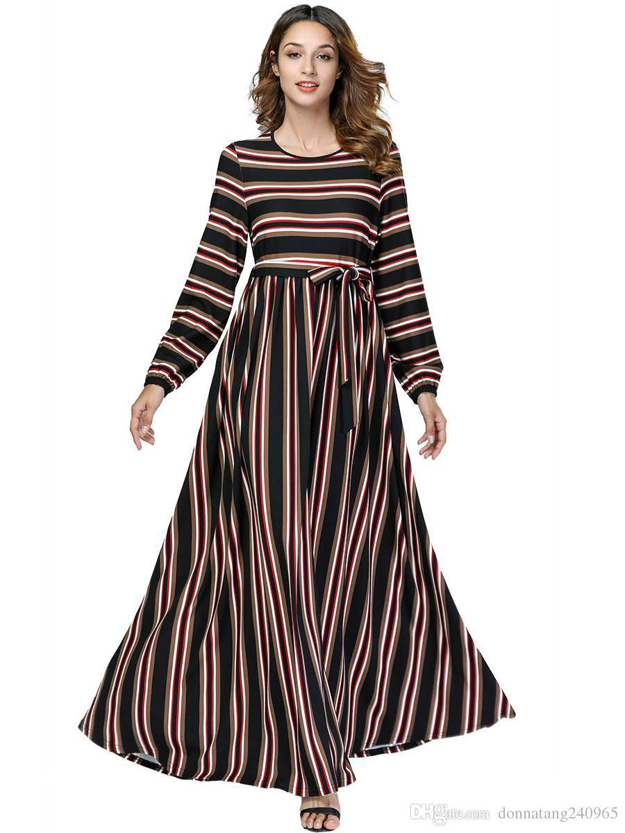 b2c1169fda6 2019 Stripe Cotton Abaya Middle East Arab Dubai Muslim Robe Tied Waist Maxi  Dress Women Moroccan Burka Kaftan Islamic Dresses 7451 From Dujotree