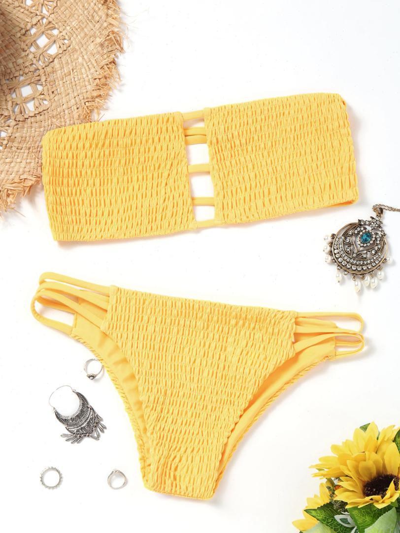 35a791911592 2019 Mujeres Swimsear Corte de la escalera Bandeau Smocked Bikini Set Traje  de baño Mujeres Traje de baño Sin tirantes Acolchado Sólido Traje de ...