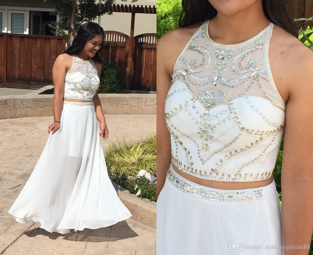 3aa09a22f11 White Two Pieces Prom Dresses 2019 Cheap Long Jewel Neck Crystal Beading  Sequins Chiffon Homecoming Party Evening Dress Gowns Short Prom Dress 2015  Summer ...