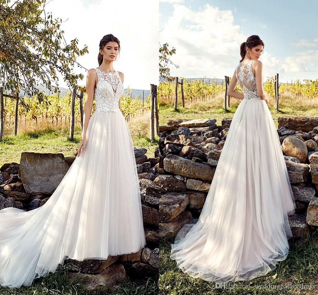 Discount Designer Wedding Gowns: Discount 2019 New Designer A Line Lace Wedding Dresses