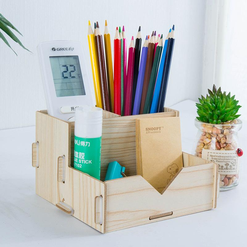 Multifunctional Wooden Pencil Ball Pen Holder Stationery Storage Boxes Diy Home Bedroom Simple Desktop Sundries Storage Box