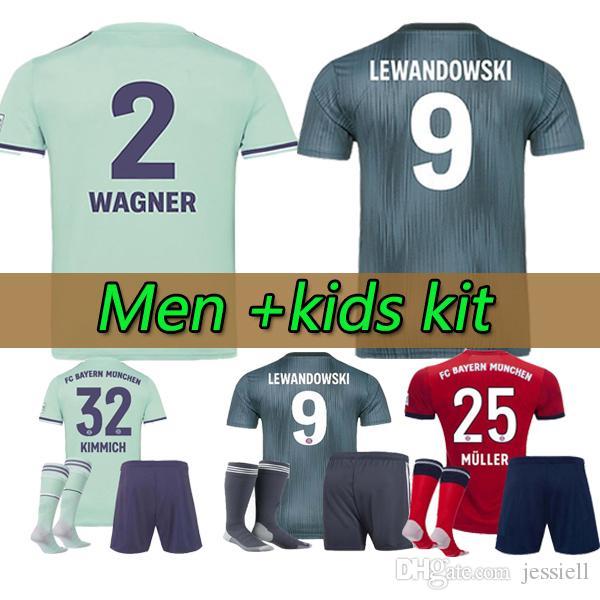 detailed look 53520 31a27 kids kit Munich JAMES RODRIGUEZ Soccer jersey 2018 2019 LEWANDOWSKI MULLER  KIMMICH jersey 18 19 HUMMELS Football shirt