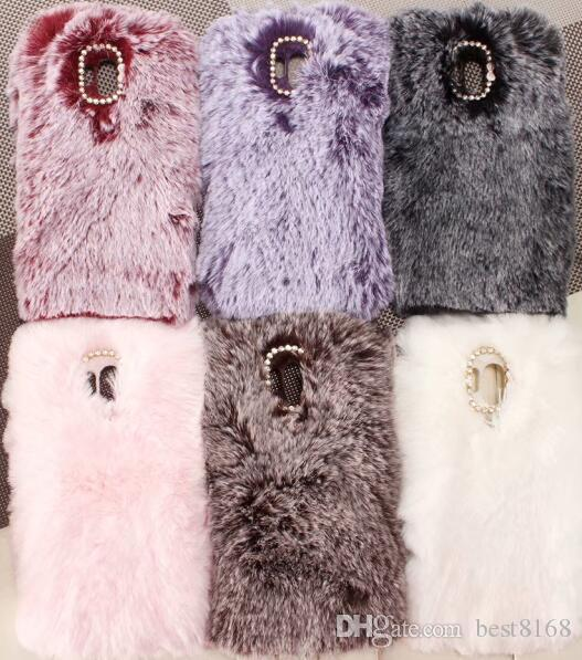 21497d4d79 Genuine Rabbit Hair Case For Huawei Mate 20 Pro 10 Lite P Smart 2019 (Y5 Y6  Y7)2018 Bling Diamond Fluffy Fur Girl Soft TPU Cute Covers Skin