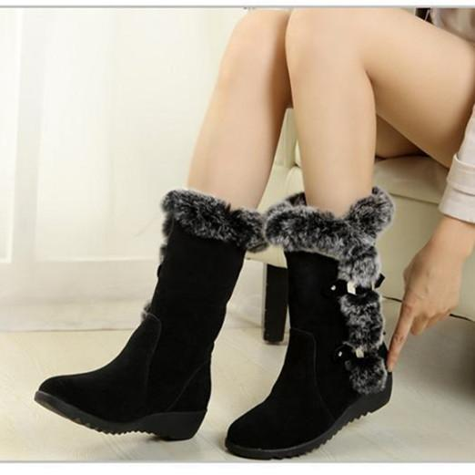 BONJEAN 2019 New Hot Women Boots Autumn Flock Winter Ladies Fashion Snow Boots Shoes Thigh High Suede Mid-Calf