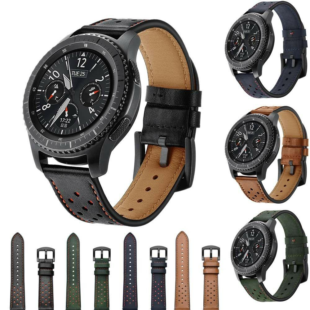 T-AMQ 22mm Genuine Leather Watch Band Men Wristwatch Strap Bracelet Brown Black Green For Samsung Gear S3 Frontier/Classic -12