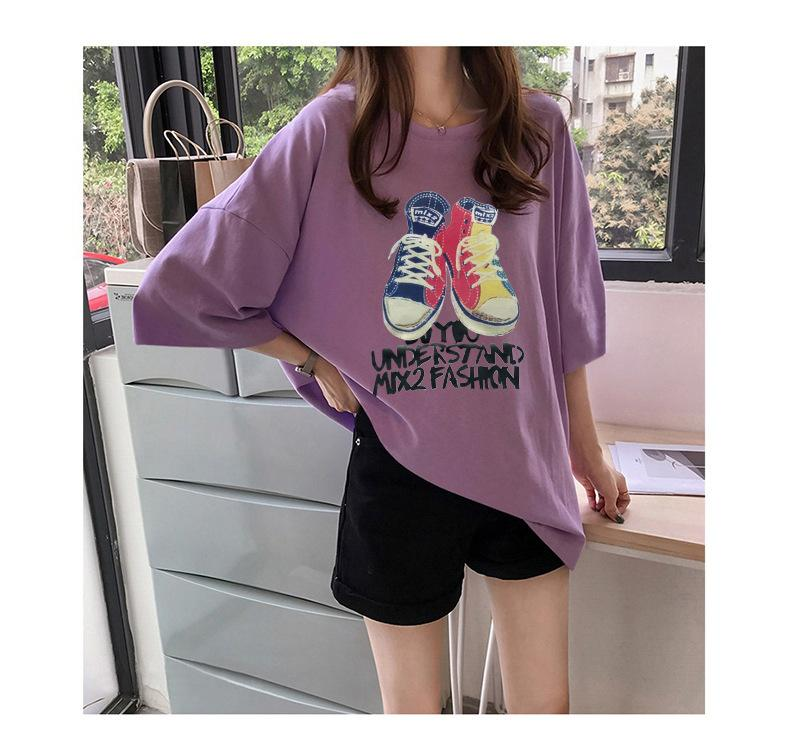 4d20b3dcd9 2019 summer new Korean version of the loose thin cartoon print  short-sleeved cotton T-shirt ladies short-sleeved tops wholesale