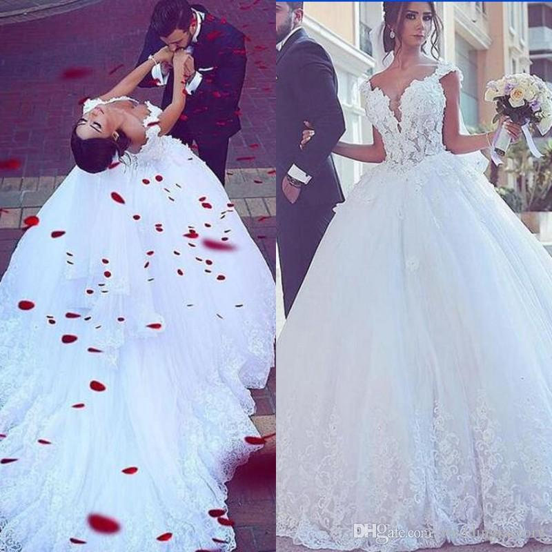 a44de02a1700 Discount Arabic Wedding Dresses 2019 Sweetheart Lace Appliques Straps  Illusion Top Tulle Custom Made Bridal Gowns With Court Train Corset Back Wedding  Gowns ...
