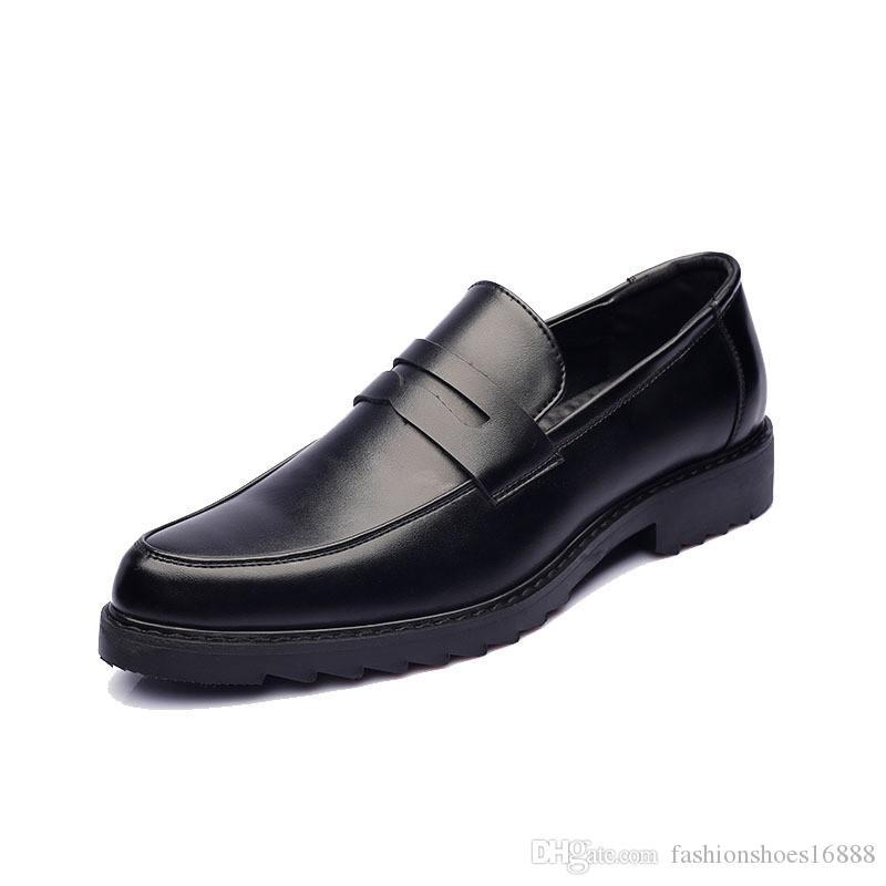 4ff03e7acb95b Acheter Pointu Hommes De Mariage Mocassins Marque Robe Oxford Chaussures  Mâle Formal Business Mocassins Hommes De La Mode Classique Style  Britannique Casual ...