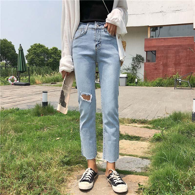 324b5e962f 2019 2019 New Women Cotton Jeans Chic BF Style Straight Jeans Elastic Hole  High Waist Slim Ankle Length Jean Female  8307 From Waxeer