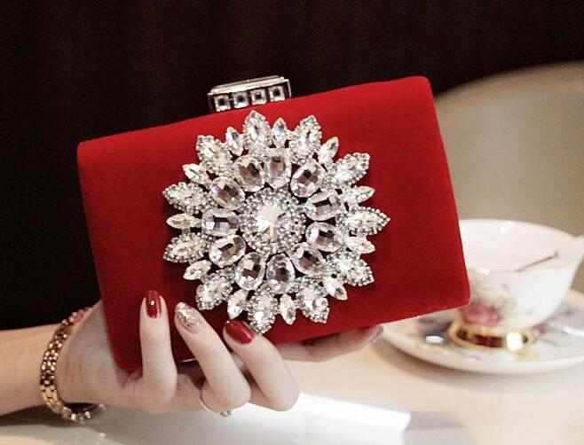 Wholesale- 2016 New Single Side Sun Diamond Crystal Evening Bags Clutch Bag Hot Styling Day Clutches Lady Wedding woman bag.