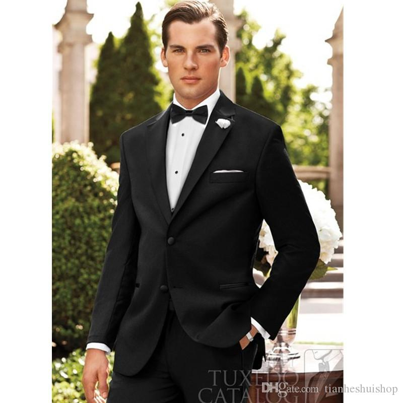 Men's suit two-piece suit (jacket + pants) men's two buckle flat angle  collar suit quality fashion wedding groom dress custom