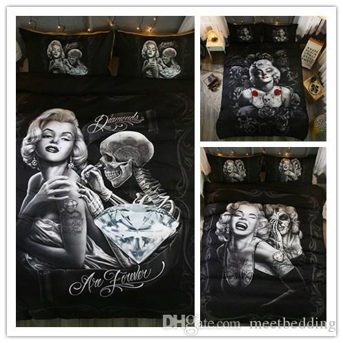 3D Women And Skull Bedding Sets Sugar Skull Duvet Cover Bed Cool Skull Print Black Bedclothes Bedline