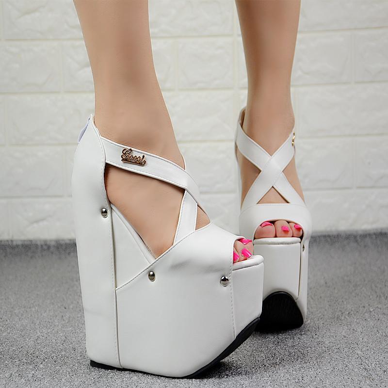 9fa2400215c6 European American Style Sexy Nightclub Women Shoes 19CM Simple Elegant High  Heels Muffin Platform Super High Heel Wedge Sandals Discount Shoes Platform  ...