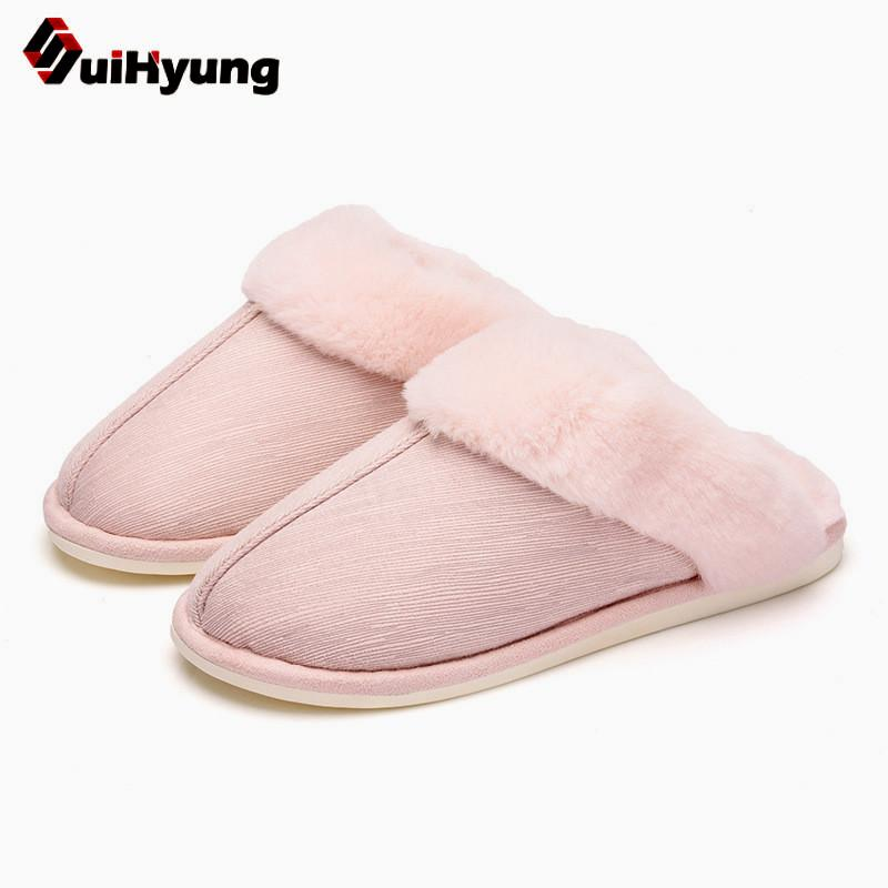 8f6269a38745db Suihyung Mulheres Sapatos de Inverno Quente de Pelúcia Chinelos Interior  Patchwork Casa De Pele Falsa Chinelos Sola Macia Senhoras Casa Peludo