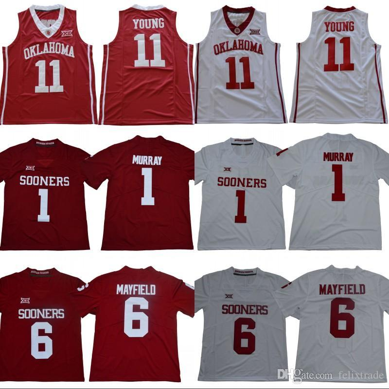 Oklahoma Sooners 1 Kyler Murray 6 Baker Mayfield Trae Young College NCAA Football  Jerseys Shirt Double Stiched Online with  23.59 Piece on Xuli923 s Store ... 302f4e6ce