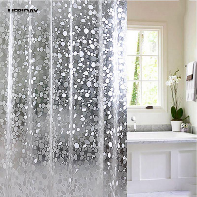 2019 UFRIDAY Brand Transparent EVA Shower Curtain 3D Stone Pattern Waterproof Bath Curtains For Bathroom Bling Screens C18112201 From