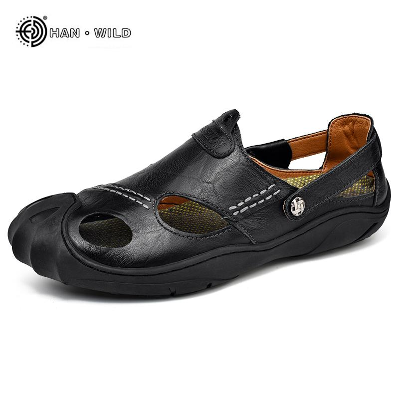 bd75e3be3711 Men Fashion Sandals Summer Leather Breathable Slides Sandals Sneakers  Sandalias Hombre Native Mens Beach Casual Shoes Online with  37.0 Piece on  ...