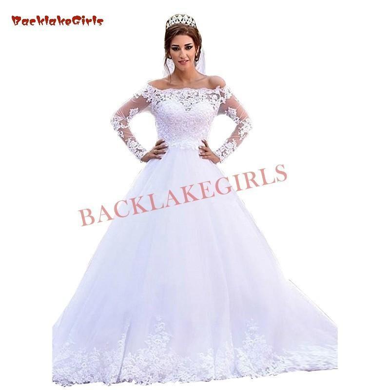 35e3ac5858 Ball Gown Long Sleeve Lace Beading Elegant Formal Muslim Bride Wedding  Dresses 2019 New Fashion Wedding Gowns Custom Made Linen Wedding Dress Plus  Wedding ...